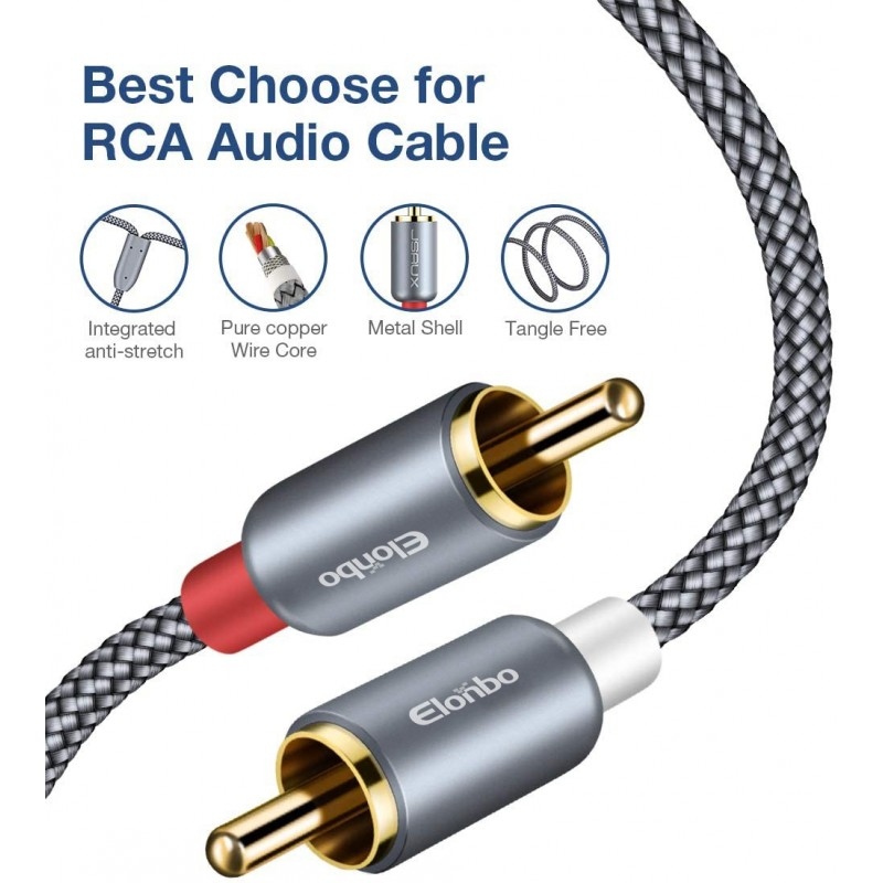 24K Gold Plated | Copper Core Left//Right SatelliteSale 2-Male to 2-Male RCA Stereo Audio Cable Molded Premium Quality 6 Feet